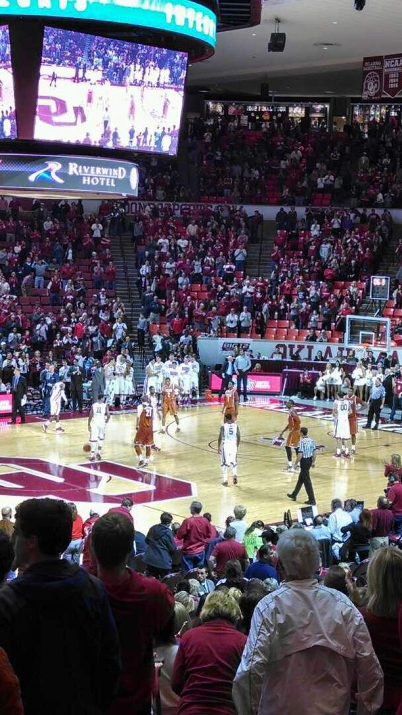 Seating view for Lloyd Noble Center Section lw6 Row 16 Seat 8