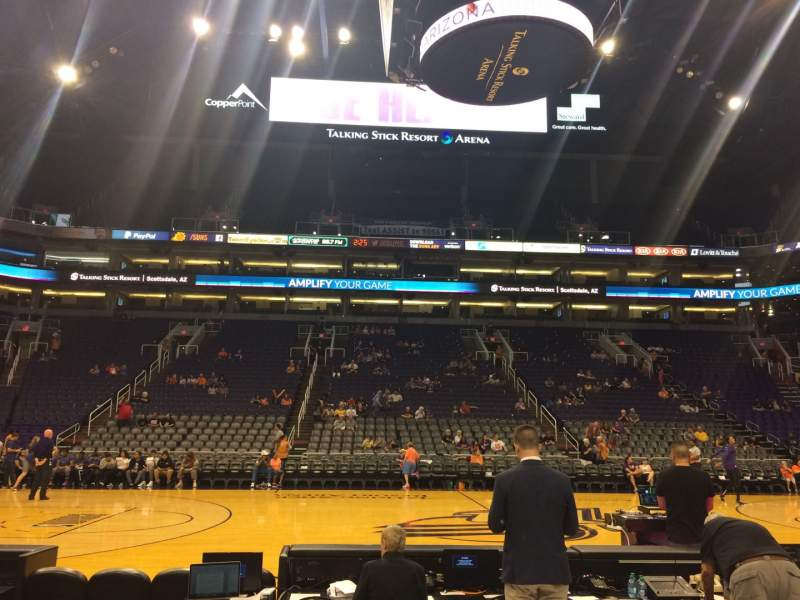 Seating view for PHX Arena Section 102 Row 3 Seat 17