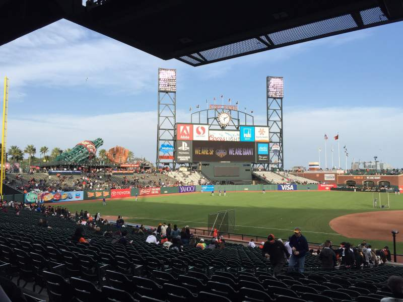 Seating view for Oracle Park Section 124 Row 32 Seat 9