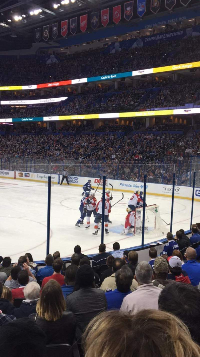 Seating view for Amalie Arena Section 126 Row L