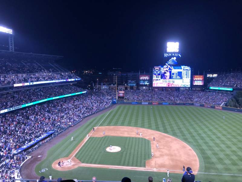 Seating view for Coors Field Section U323 Row 15 Seat 14