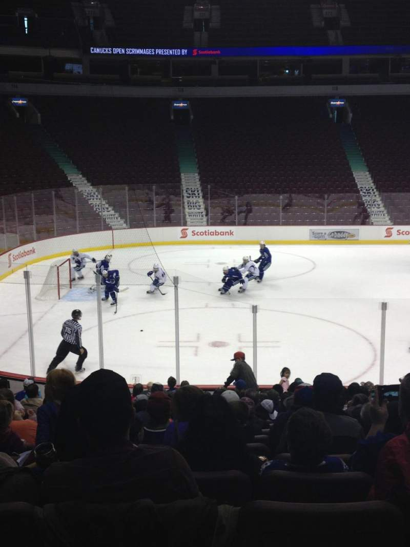 Seating view for Rogers Arena Section 108 Row 8 Seat 7