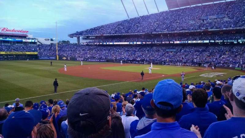 Seating view for Kauffman Stadium Section 114 Row R Seat 6