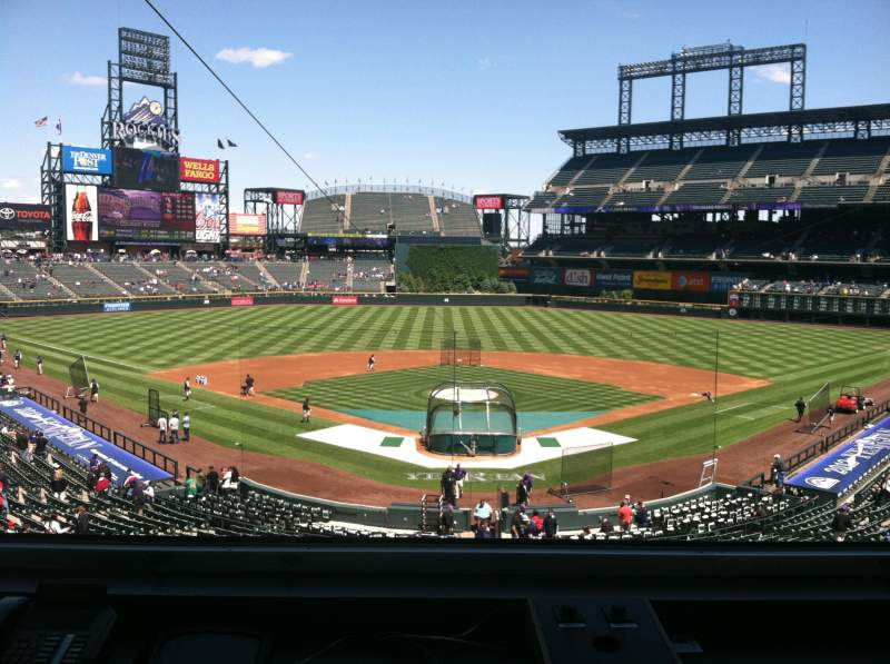 Seating view for Coors Field Section Press Box