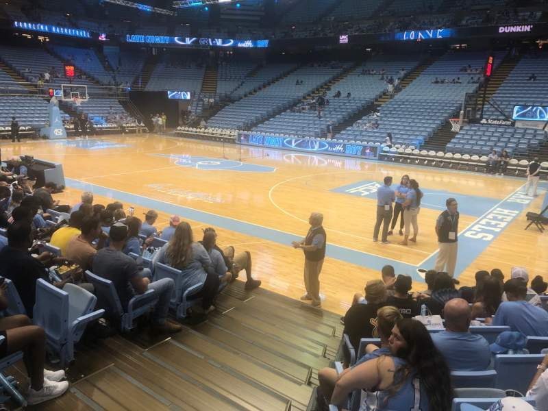 Seating view for Dean E. Smith Center Section 130 Row F Seat 1