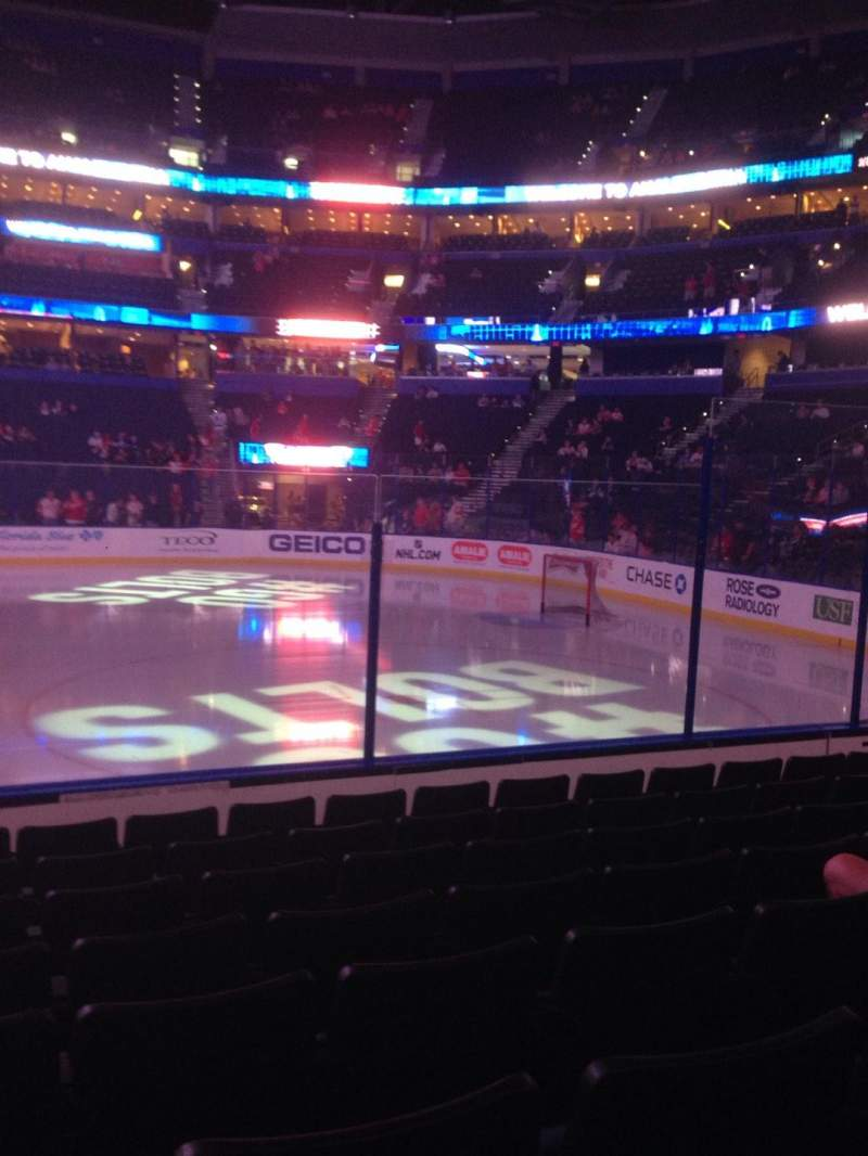 Seating view for Amalie Arena Section 114 Row H Seat 15