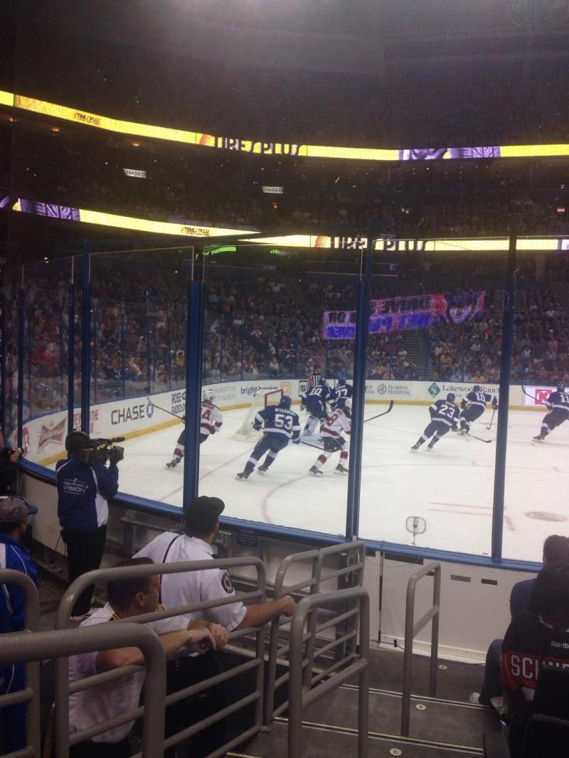 Seating view for Amalie Arena Section 118 Row G Seat 14
