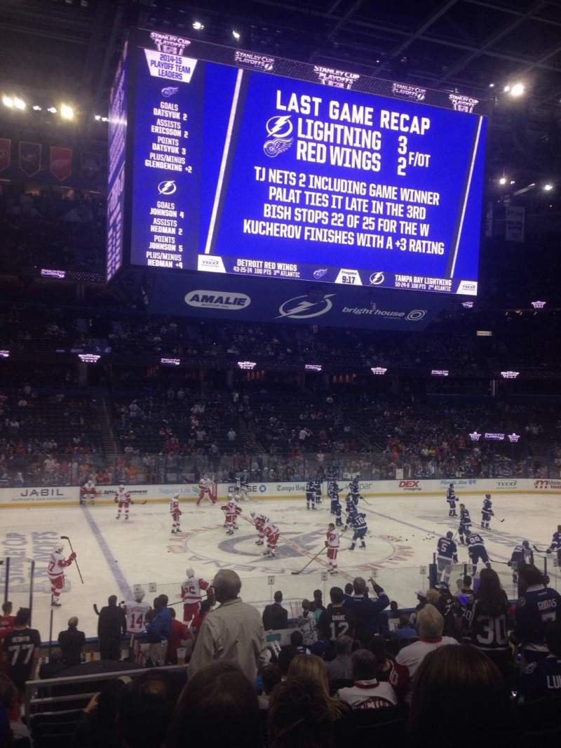 Seating view for Amalie Arena Section 102 Row V Seat 11