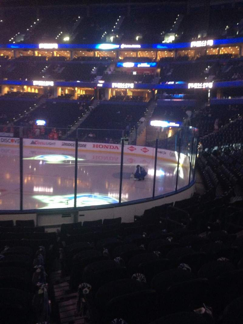 Seating view for Amalie Arena Section 112 Row L Seat 9