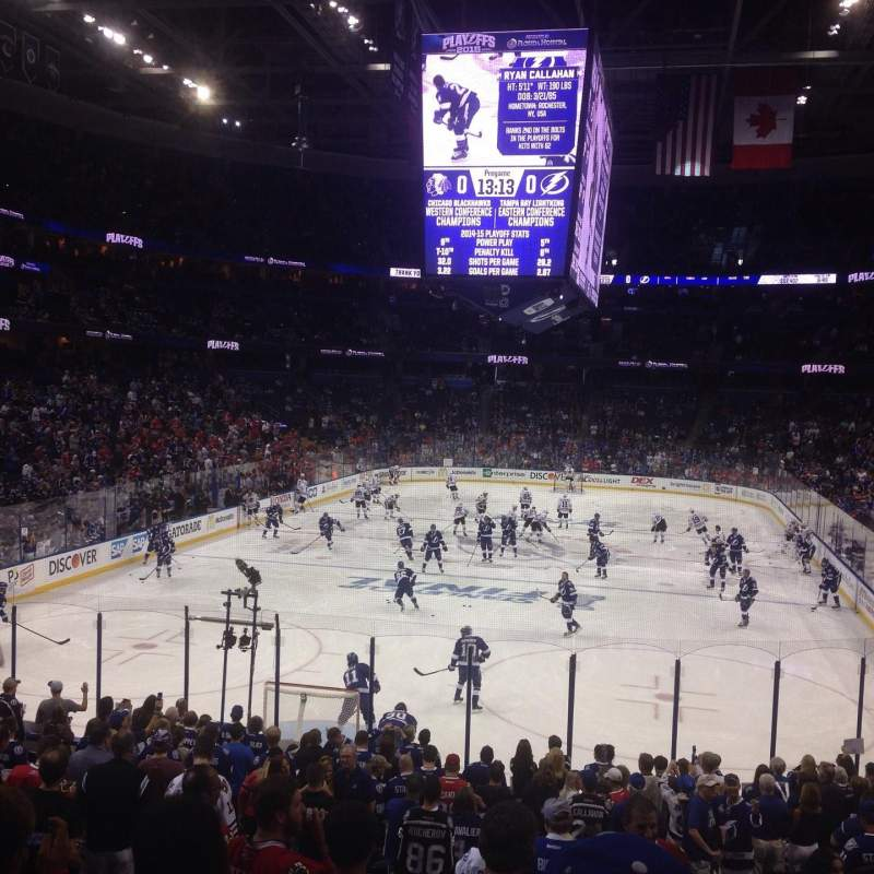 Seating view for Amalie Arena Section 123 Row W Seat 5