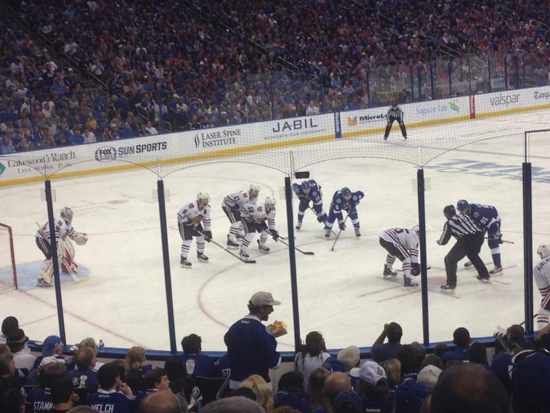 Seating view for Amalie Arena Section 104 Row R Seat 22
