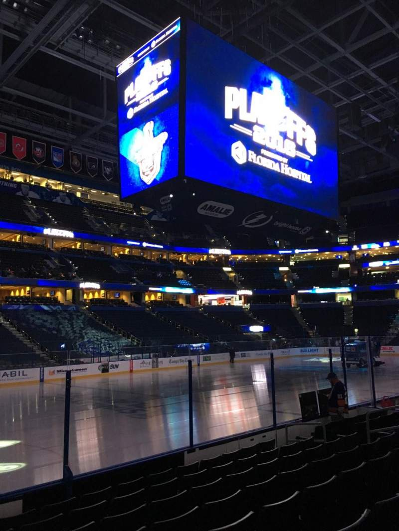 Seating view for Amalie Arena Section 103 Row H Seat 15