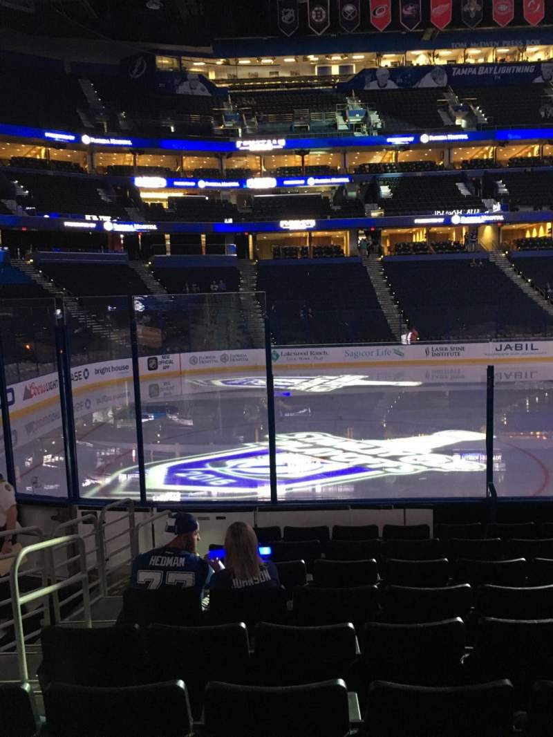 Seating view for Amalie Arena Section 103 Row J Seat 12