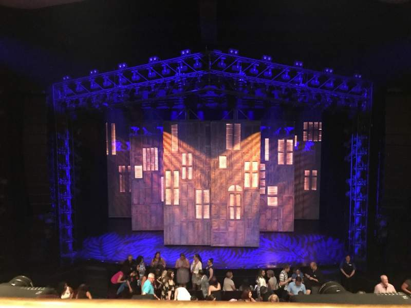 Seating view for Marquis Theatre Section Mezzanine C Row A Seat 110 & 111