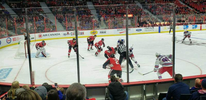 Seating view for Canadian Tire Centre Section 119 Row H Seat 1