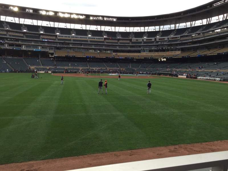 Seating view for Target Field Section 130 Row 1 Seat 1