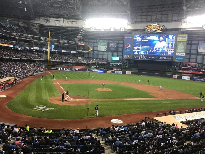 Seating view for Miller Park Section 216 Row 1 Seat 4