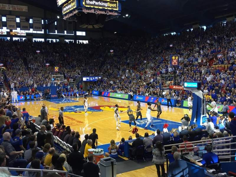 Seating view for Allen Fieldhouse Section P1 Row 9 Seat 5