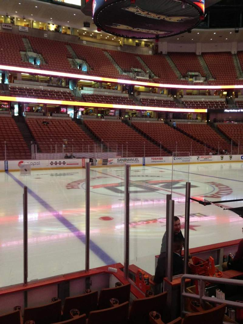 Seating view for Honda Center Section 210 Row F Seat 8