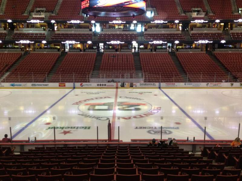 Seating view for Honda Center Section 208 Row S Seat 9