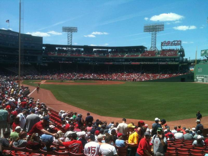 Seating view for Fenway Park Section Grandstand 4 Row QQ Seat 1