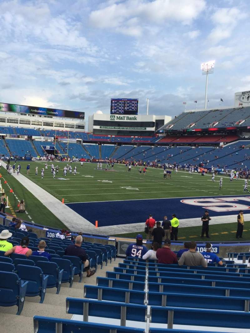 Seating view for New Era Field Section 104 Row 17 Seat 10