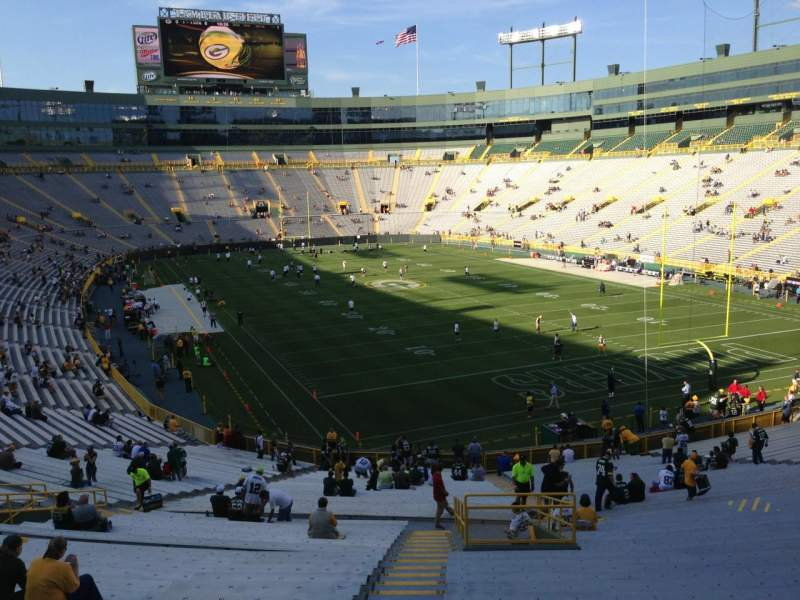Lambeau field section 134 row 47 seat 1 green bay packers vs