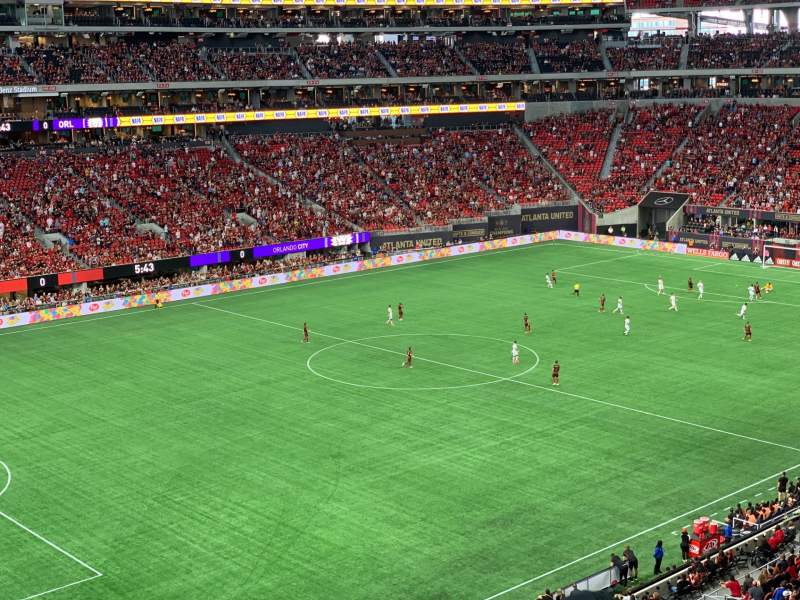 Seating view for Mercedes-Benz Stadium Section 243 Row 2 Seat 7