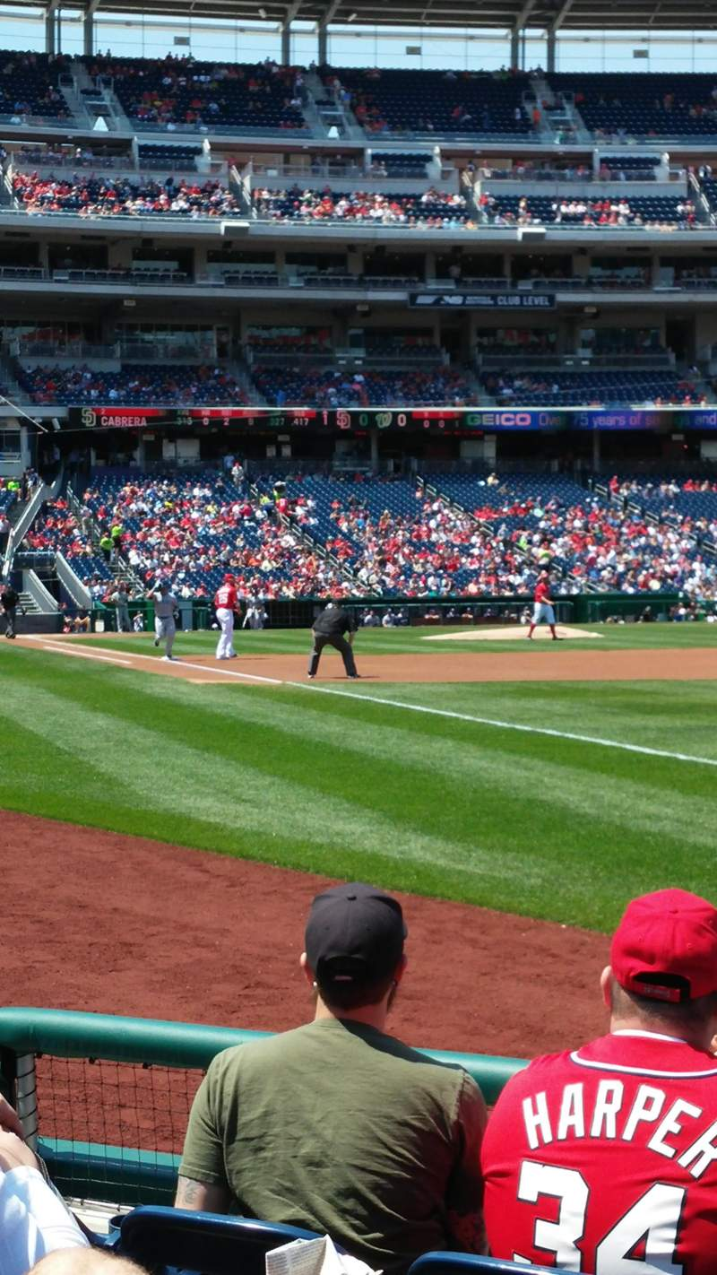 Seating view for Nationals Park Section 135 Row E Seat 1