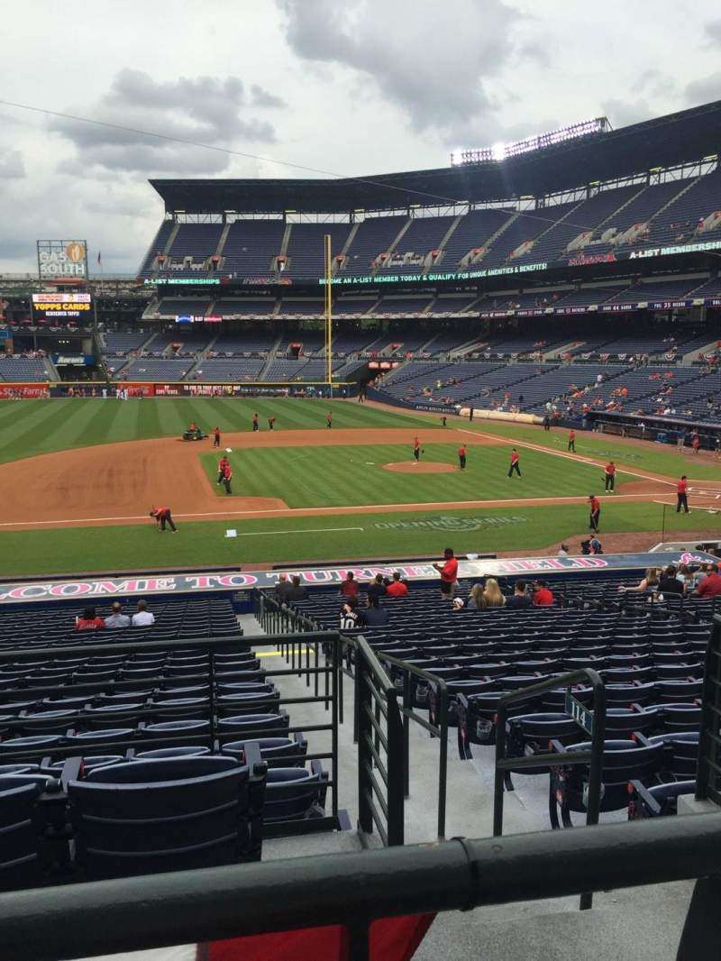 Seating view for Turner Field Section 216R Row 1 Seat 8