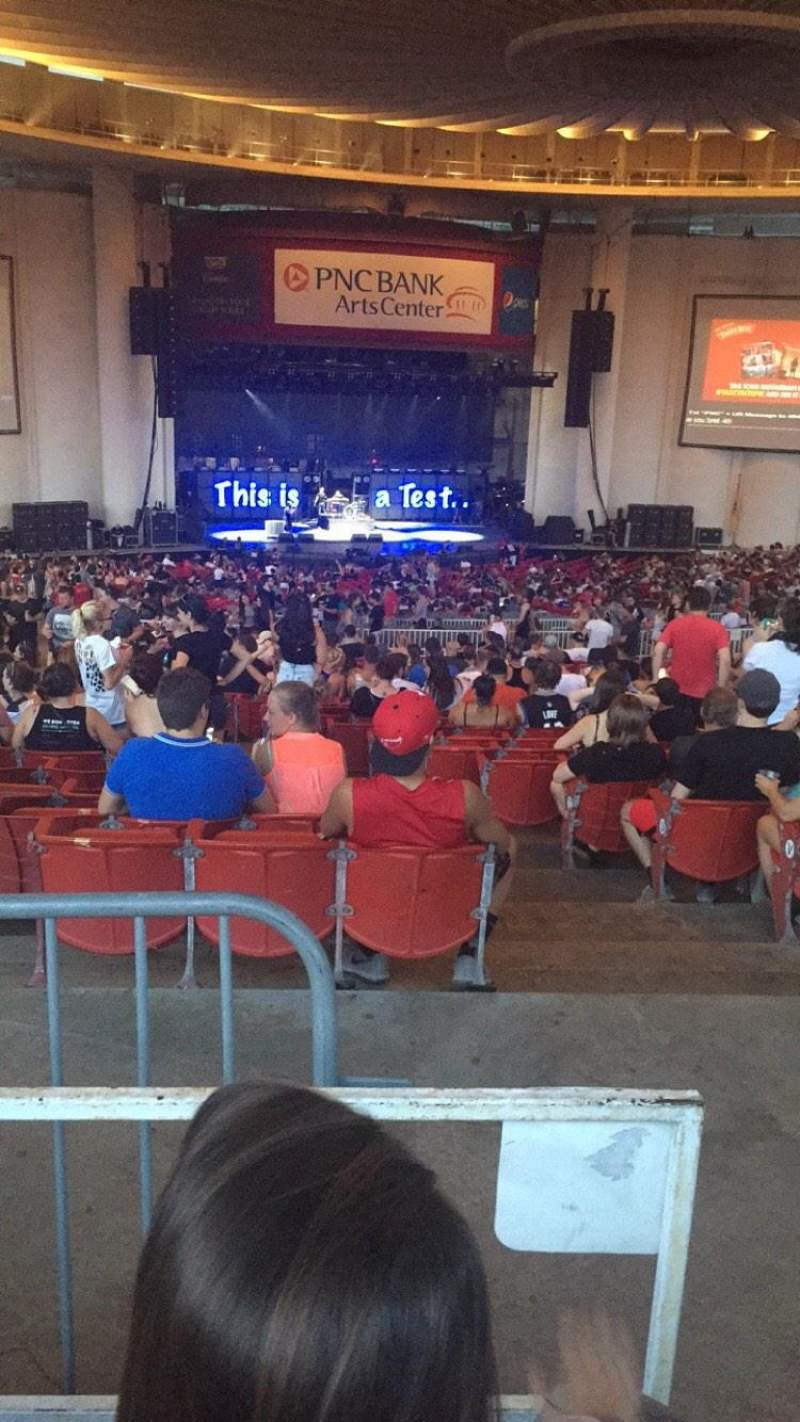 Seating view for PNC Bank Arts Center Section 404 Row K Seat 105