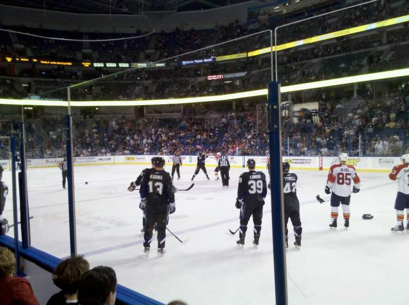 Seating view for Amalie Arena Section 106 Row d Seat 7
