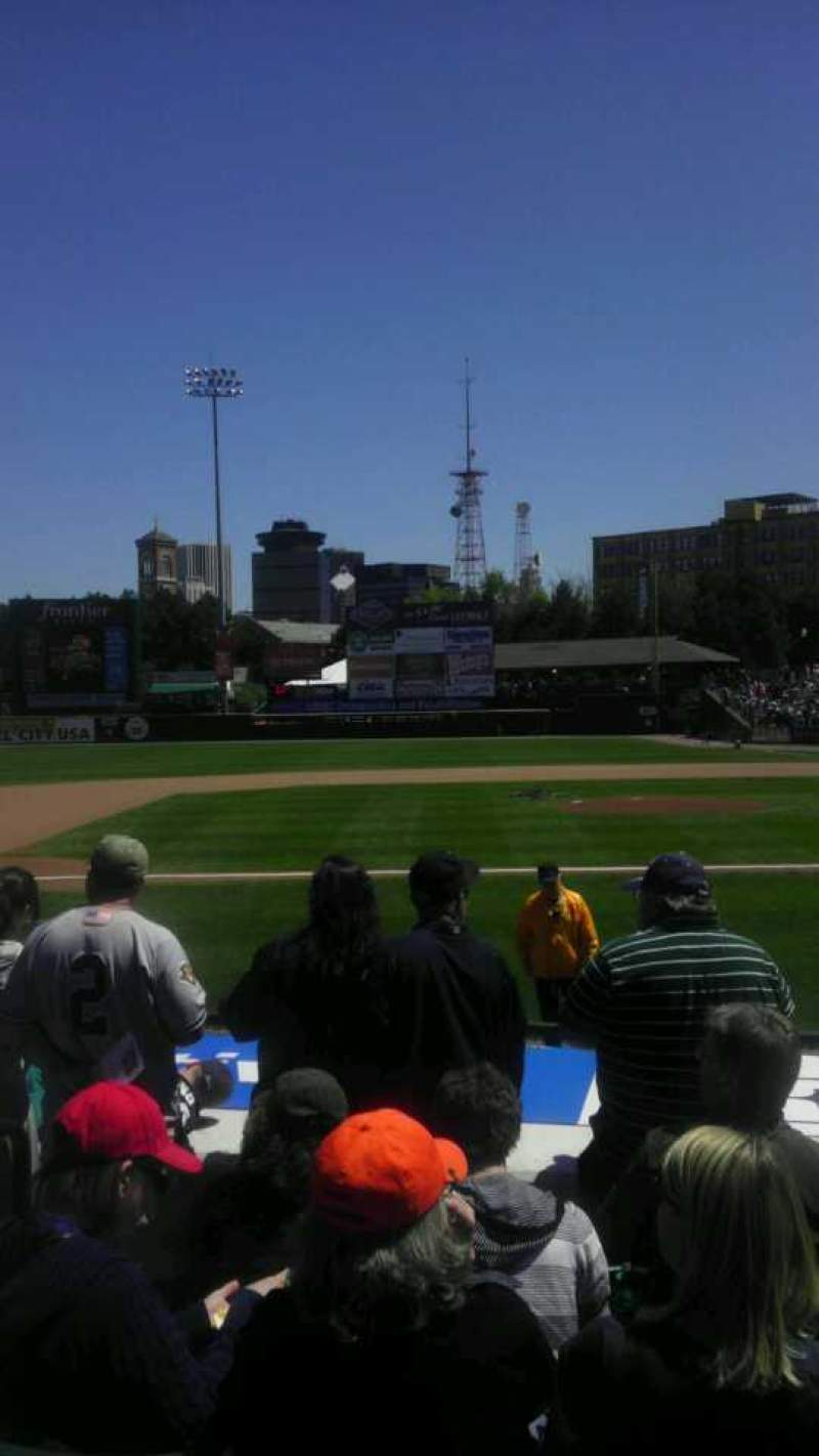Seating view for Frontier Field Section 123 Row K Seat 6
