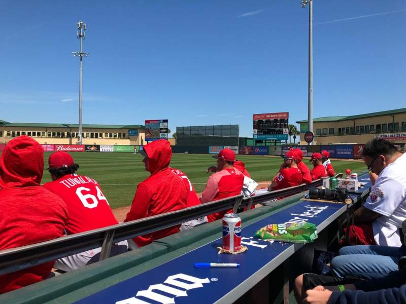 Seating view for Roger Dean Chevrolet Stadium Section Bullpen Row 1 Seat 4