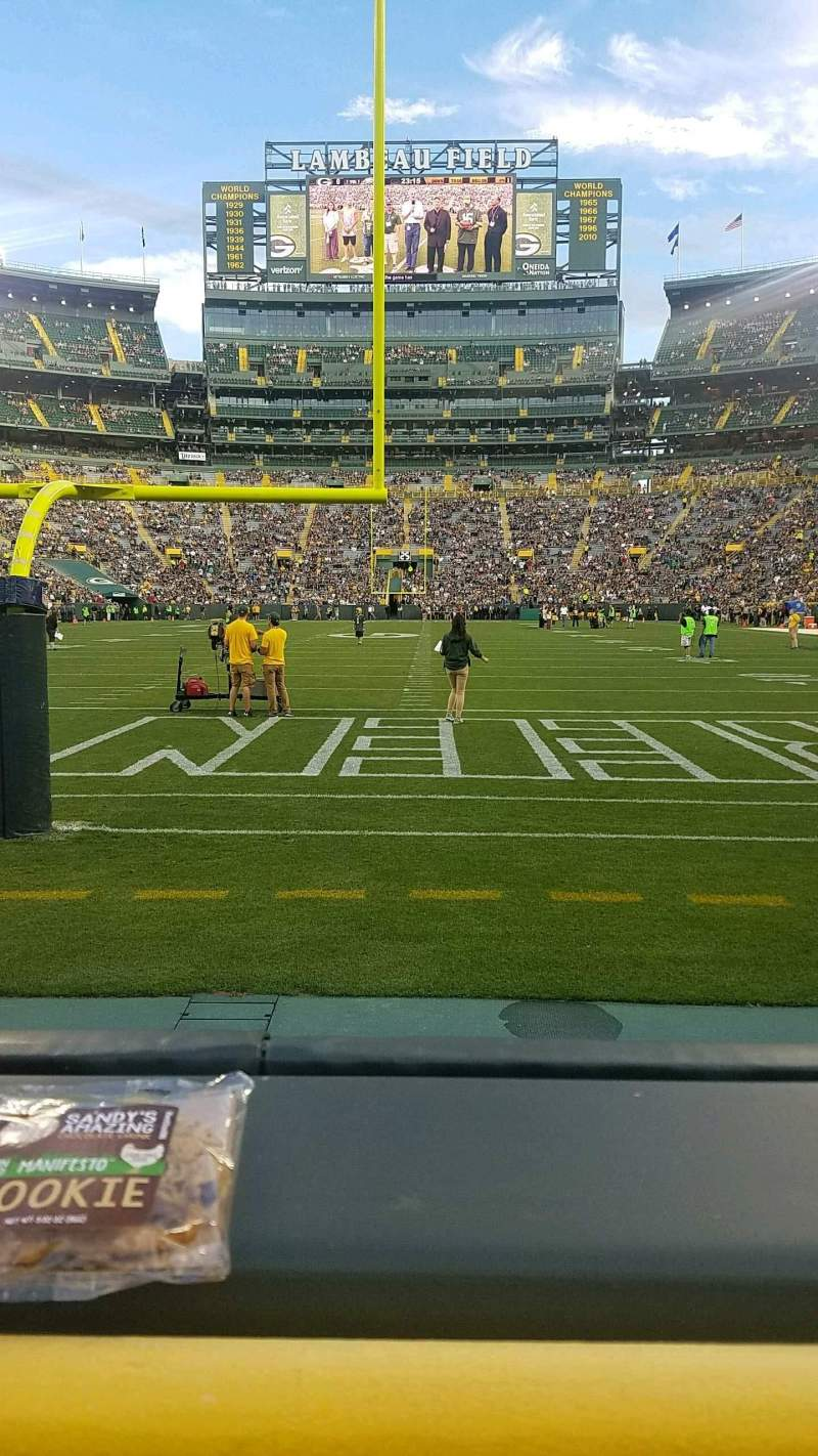 Seating view for Lambeau Field Section 102 Row 1 Seat 23