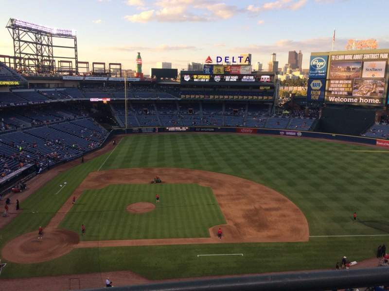 Seating view for Turner Field Section 409R Row 1 Seat 13
