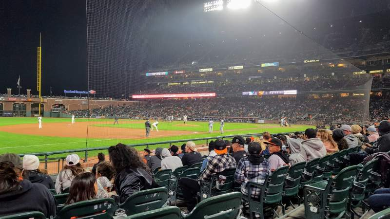 Seating view for Oracle Park Section Lower Box 127 Row 10 Seat 4
