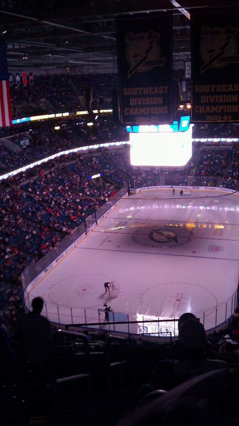 Seating view for Amalie Arena Section 307 Row n Seat 26