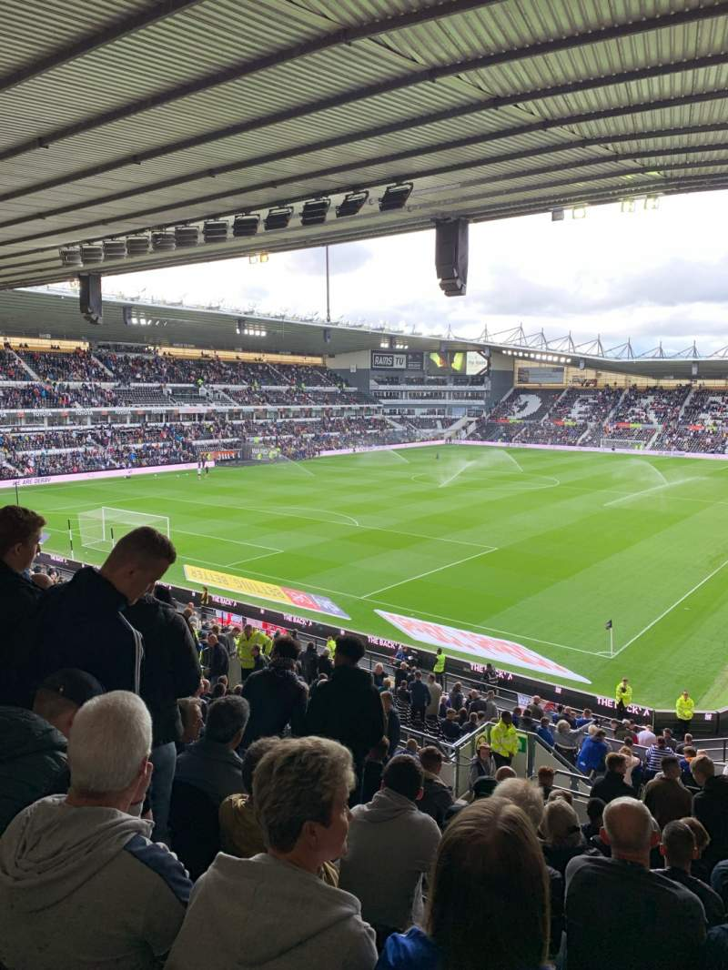 Seating view for Pride Park Section Upper Block B Row S Seat 596
