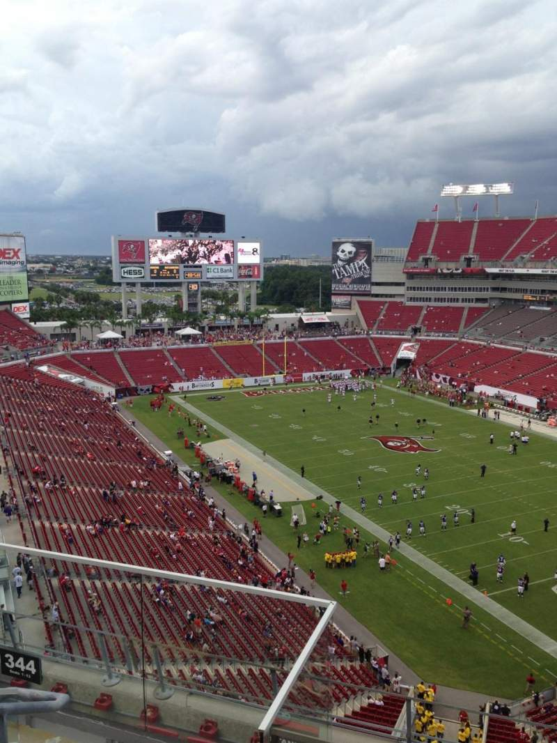 Seating view for Raymond James Stadium Section 344 Row C Seat 7