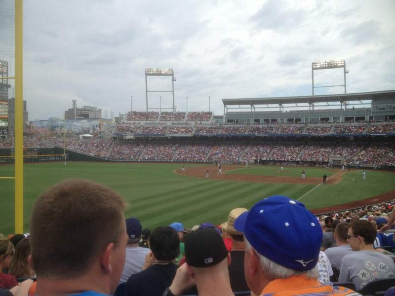 Seating view for TD Ameritrade Park Section 124 Row 30 Seat 5