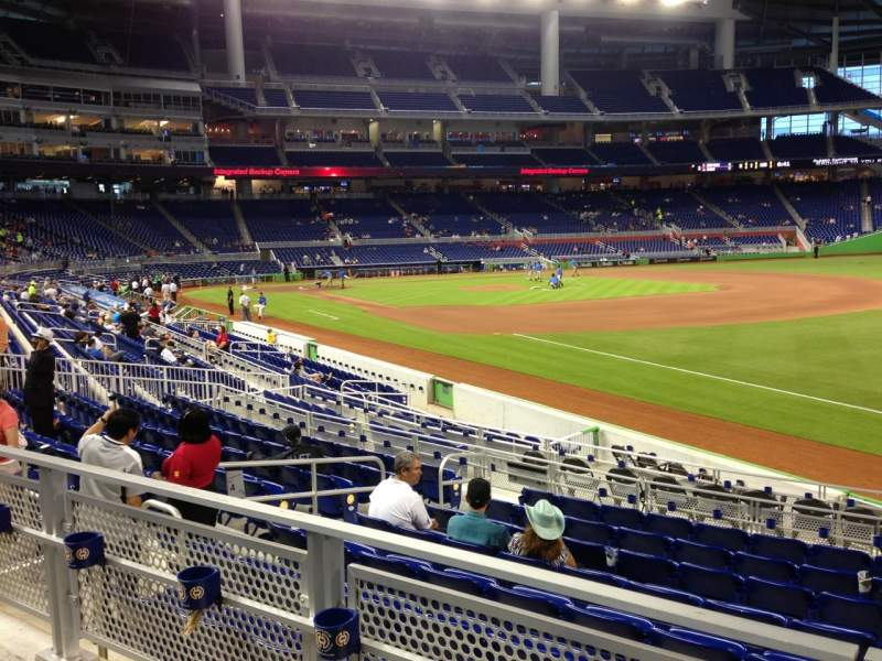 Seating view for Marlins Park Section 4 Row 2 Seat 8
