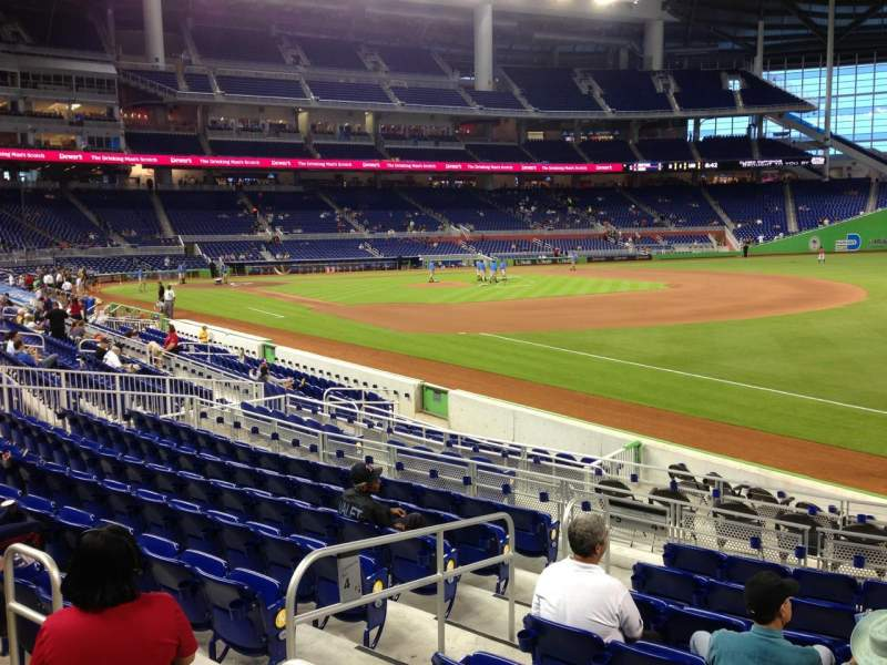 Seating view for Marlins Park Section 4 Row 1 Seat 13