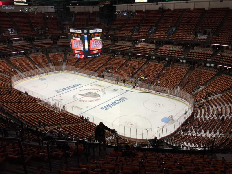 Seating view for Honda Center Section 428 Row Q Seat 11