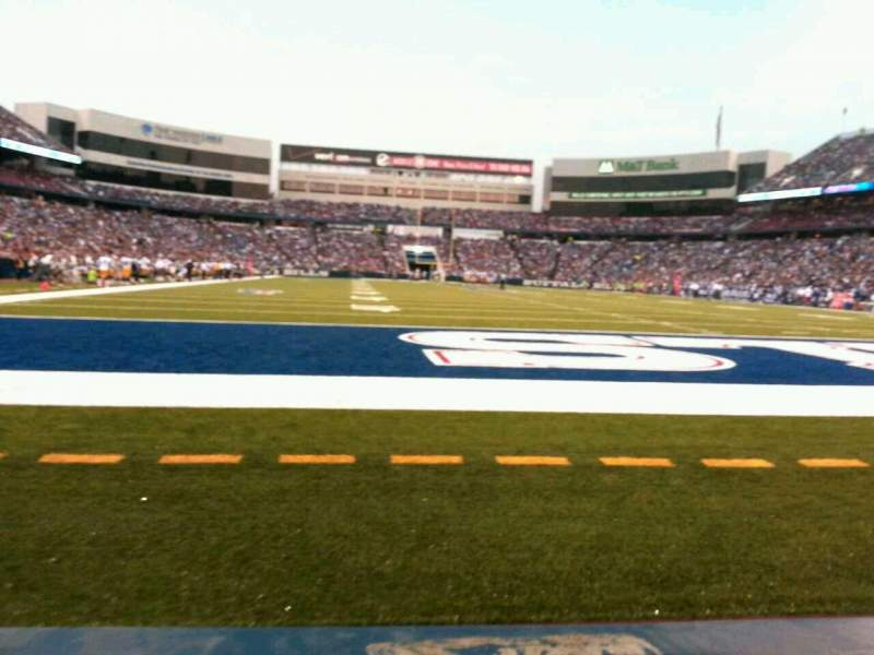 Seating view for New Era Field Section 102 Row 1 Seat 12 -13