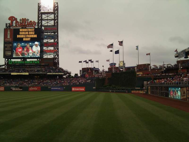 Seating view for Citizens Bank Park Section 108 Row 12 Seat 17