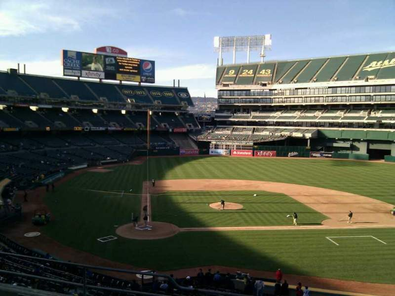 Seating view for Oakland Alameda Coliseum Section 214 Row 6 Seat 14