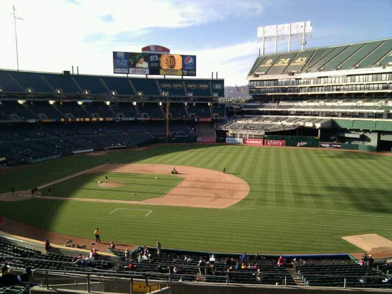 Seating view for Oakland Alameda Coliseum Section 210 Row 14 Seat 13