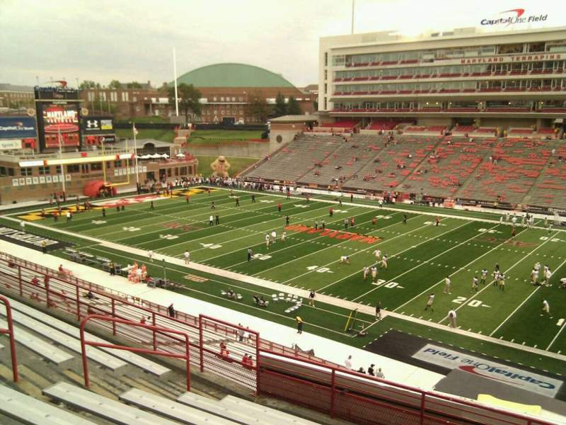 Seating view for Maryland Stadium Section 210 Row h Seat 11