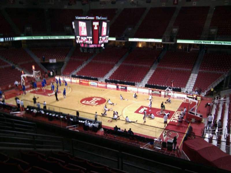 Seating view for Liacouras Center Section 201 Row h Seat 5